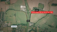 A pedestrian has died after being hit by a van on the A12 in Chelmsford.