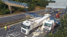 What caused a bridge to collpase over the M20?