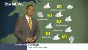 West Midlands Weather: Showers easing tonight, then dry and sunny tomorrow