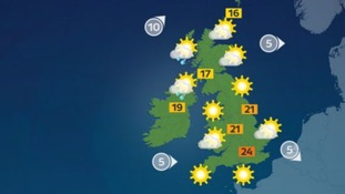 Fine with sunny spells, but rain for the north-west later