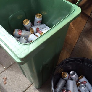 Wheelie bins full of lager were seized.