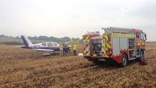 The scene of the crash landing in Somerset