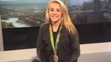 Siobhan-Marie O'Conn with her silver medal from Rio