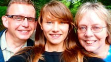 Happy family: Iryna takes a selfie with Heather and Terry in Bodmin