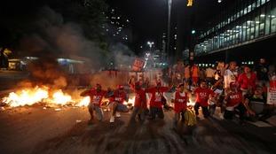 Roads were blockaded in the demonstrations