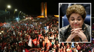 Supporters of Dilma Rousseff protest
