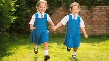 Conjoined twins defy odds to start first day at school