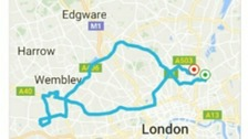 A map showing the route Hannah Warman's driver took for what should have been a short journey