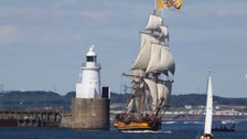 The Shtandart during the Tall Ships Regatta in Blyth, Northumberland.
