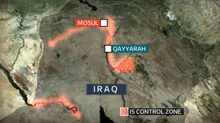 Qayyarah is not far from IS stronghold Mosul