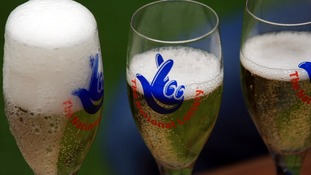 National Lottery branded champagne flutes