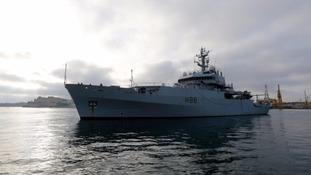 Royal Navy ship helps rescue 700 migrants in the Mediterranean Sea