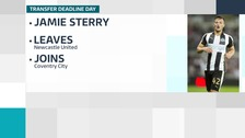 Coventry confirm loan signing of defender Jamie Sterry from Newcastle