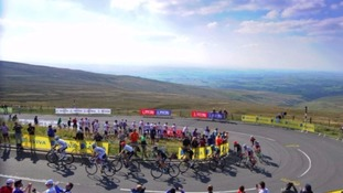 The 2015 Tour of Britain races up Hartside Pass in Cumbria