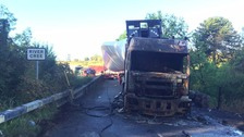 Lorry carrying wind turbine blade catches fire