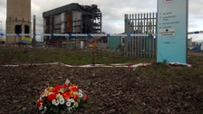 Flowers at the scene at Didcot Power Station, Oxfordshire, in March 2016