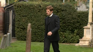 James Norton filming on the set of ITV's Grantchester