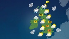 Weather: Fine and dry in south with rain spreading north