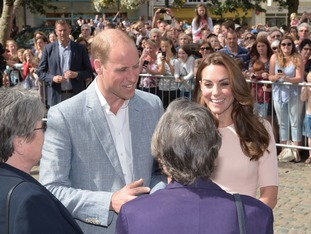 William and Kate greet the crowds outside Truro Cathedral.