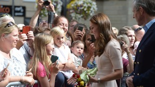 The Duchess meets the public outside Truro Cathedral.