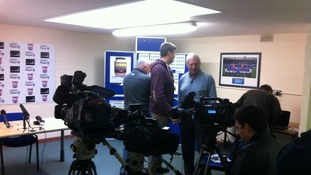 Media assemble for the Ipswich Town press conference