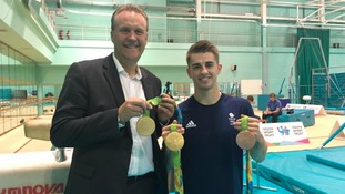 Double Olympic Champions Max Whitlock (right) with our East Midlands Correspondent Phil Brewster.