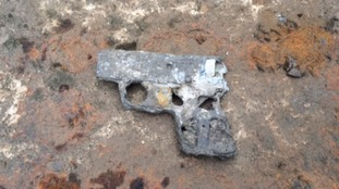 The handgun was spotted in the drained lock