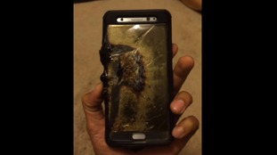 A burnt Galaxy Note 7