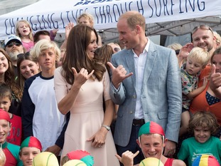 The Duke and Duchess of Cambridge enjoy a bit of surfing on Towan Beach.