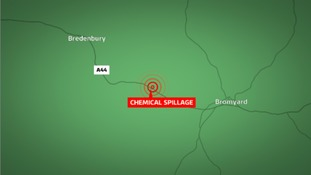 The spillage occurred on the A44 between Bromyard and Bredenbury.