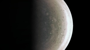 Storm activity and weather patterns can be seen at Jupiter's north pole
