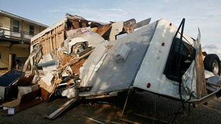 A travel trailer was destroyed in rain and wind from Hurricane Hermine in the Florida town of Keaton Beach.