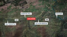 The collision, involving four vehicles, took place on an eastbound stretch of the A69 between Haydon Bridge and Bardon Mill.