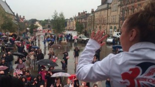 Amy in Bishop Auckland where crowds didn't let the rain put them off!