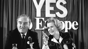 Conservative leader Margaret Thatcher and deputy leader William Whitelaw during a Conservative Group for Europe Press conference in 1975