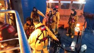RNLI climbed aboard to evacuate the seaman