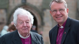 Bishop Paul meets one of his predecessors - Bishop David Jenkins at Barnard Castle St Mary's Church when he was announced as the next Bishop of Durham