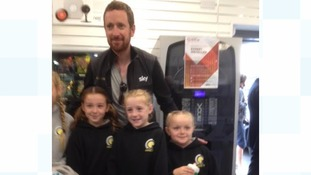 Eight times Olympic medallist Sir Bradley Wiggins meets young fans in Carlisle