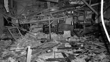 The wreckage left at The Tavern in the Town pub in Birmingham after a bomb exploded in an underground bar.