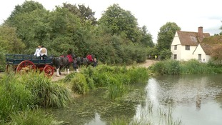 Recreating the 'Hay Wain' at Flatford Mill, Suffolk.