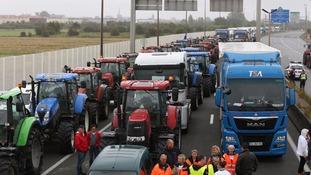 The blockade is causing travel chaos around Calais.