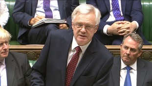 Brexit minister David Davis was flanked by prominent pro-Brexit Cabinet colleagues Boris Johnson and Liam Fox.