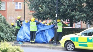 Two seriously injured after car ploughs into block of flats