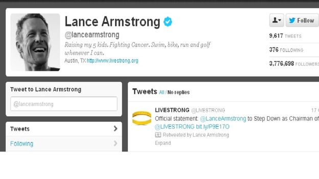 Lance Armstrong&#x27;s Twitter profile has been updated