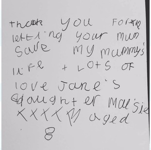The letter written by Maisie Rice to say thank you to the daughter of organ donor Tish Murtha.