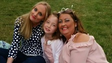 Jane Holmes and daughter Maisie with the daughter of her organ donor, Ella Murtha.