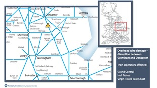 Map of the area affected by downed overhead lines on the East Coast Mainline