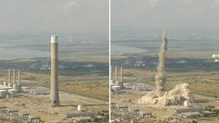 Giant chimney demolished at former power station