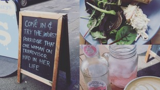 Cafe owner uses negative reviews to advertise business