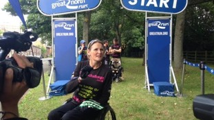 Claire Lomas prepares to set off on her Great North Run challenge
